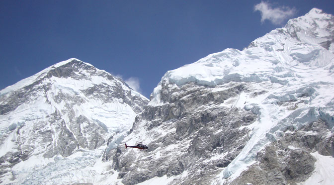 Mountain helicopter rescue service in Nepal Himalaya