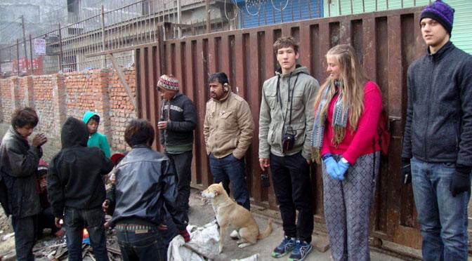 Helping street children at Thamel - Volunteer travel Nepal