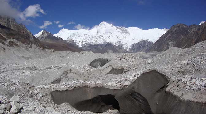 Ngozumpa glacier the largest glacier of Nepal way to Everest high pass trek